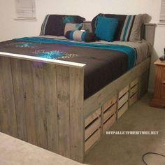 Paletten Bett mit Schubladen 1
