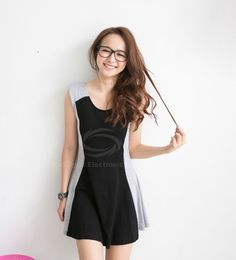 Casual Color Splicing Back Hollow Sleeveless Cotton Dress For Women (BLACK,ONE SIZE) China Wholesale - Sammydress.com