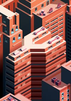 City Life - Isometric Cityscape on Behance