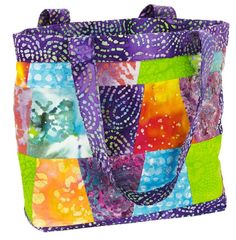 Exotic Batik | Stacked Tumblers Tote | Free pdf project from Fabric Editions