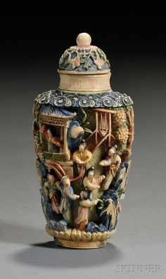 Painted Ivory Snuff Bottle, China, early 20th century, the sides carved in various reliefs and undercutting and with polychrome-painted with figures in various attitudes in a landscape, domed stopper, lg. 2 5/8 in.