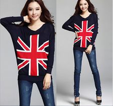 Union Jack UK flag print T shirt ladies long sleeve Bottoming Sweater Tops Women