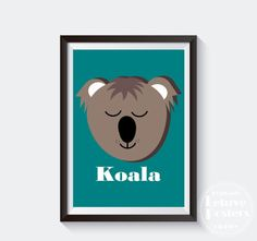 SIMPLE KOALA POSTER  Colourful Animal  for Kids by LetuvePosters