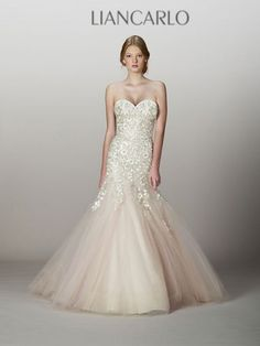 LianCarlo style 5839, fall 2013 - fit and flare blush tulle wedding dress from…