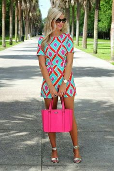 ~~~SPRING AND SUMMER FASHION TRENDS! Adorable bright pink and teal romper. Love the hot pink purse to match! Try stitch fix today to get looks just like these handpicked for you by your own personal stylist. Just click the picture to get started! Stitch fix spring. Stitch fix summer. #affiliatelink