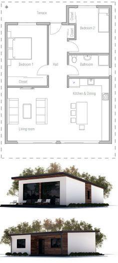 Planta de casa econômica com 2 quartos. ConceptCasa.com.br
