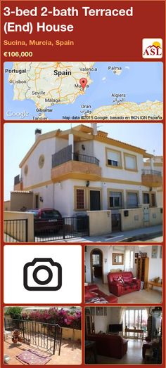 Terraced (End) House for Sale in Sucina, Murcia, Spain with 3 bedrooms, 2 bathrooms - A Spanish Life Semi Detached, Detached House, Valencia, Portugal, Murcia Spain, Countryside, Terrace, Swimming Pools, Spanish