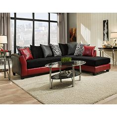 Every time you enter your living room, you'll fall in love with the Chelsea Home Furniture Zeta Sectional Jefferson Black and Red . This sectional. Cheap Furniture Stores, Buy Furniture Online, Furniture Shopping, Furniture Websites, Discount Furniture, Sofa Furniture, Living Room Furniture, Kitchen Furniture, Living Rooms