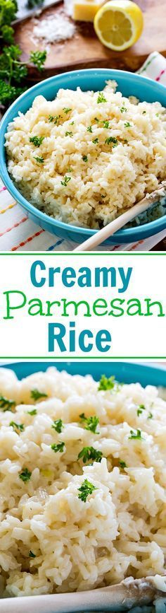 Creamy Parmesan Rice with lots of cheese and garlic flavor.