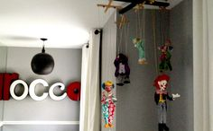 Vintage clown marionettes and marquee channel letters