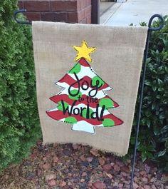 Burlap garden flag, Christmas tree with star, Joy to the World Flag Ideas, Burlap Garden Flags, Joy To The World, Reusable Tote Bags, Christmas Tree, Star, Home Decor, Teal Christmas Tree, Decoration Home
