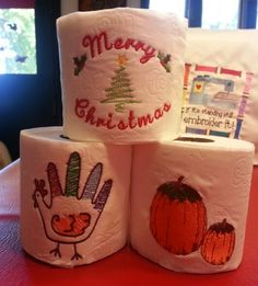 Holiday embroidered toilet paper