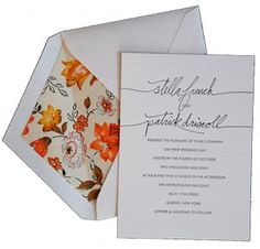simple cursive invitations // <3 the inside of the envelope + simple invitation. it's like a surprise