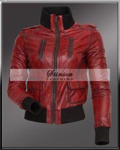 women motorbike leather jacket sale http://www.stinsonleathers.com/product/red-waxed-women-motor-biker-leather-jacket/