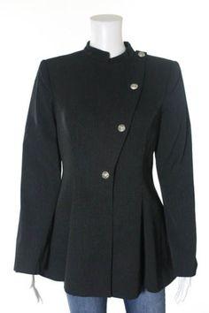 GIORGIO-ARMANI-Black-White-Wool-Striped-Button-Down-Blazer-Sz-EUR-40