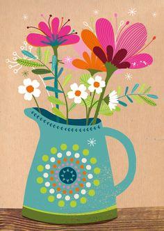 Bos bloemen in een vaas op bruin craft papier, verkrijgbaar bij #kaartje2go voor €1,89