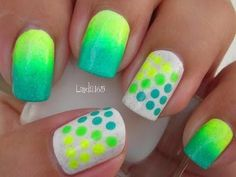Neon green  Polka dots Art