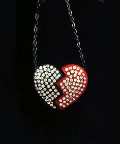Broken Heart Rhinestone Necklace