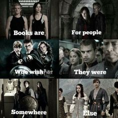 I love books. -The Hunger Games -The Mortal Instruments -Harry Potter -Divergent -Percy Jackson -The Chronicles Of Narnia I Love Books, Books To Read, My Books, Book Memes, Book Quotes, Sad Quotes, Citations Film, Fandom Quotes, The Hunger Games