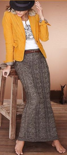 cabled maxi skirt