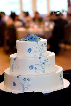 Blue and White wedding cake, three tier cake Wedding Cake Photos, Wedding Cakes, Andover Massachusetts, Three Tier Cake, Corporate Headshots, Block Island, Tiered Cakes, Portrait Photographers, Desserts