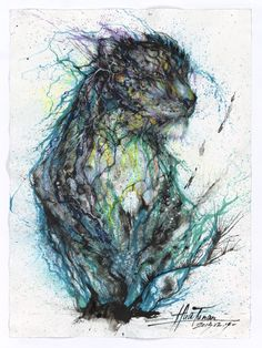 Blue Ink Leopard by Hua Tunan  Nice Splashs