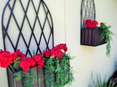 Iron flower wall boxes Concrete Landscape Edging, Wall Boxes, Flower Wall, Grapevine Wreath, Grape Vines, Iron, Gardening, Wreaths, Flowers