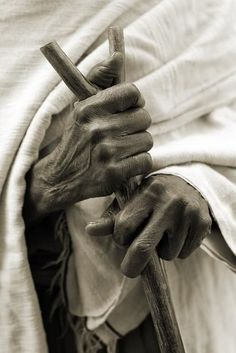 Hands with walking stick