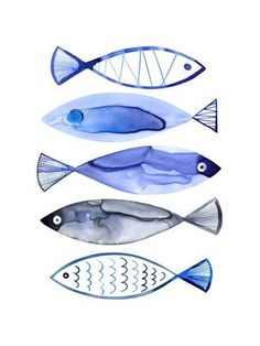 Art Print: Retro Watercolour Fish by Margaret Berg : 24x18in