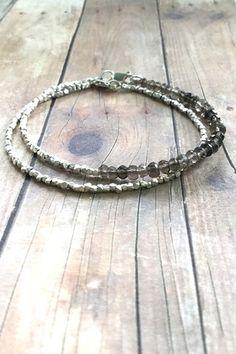 Smoky Quartz bracelet, tiny silver bead bracelet, brown stone beaded jewelry