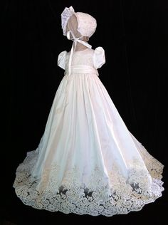 "Angela West Christening gown  ""Oriana V"" latest generation with French Alencon lace.Size TBD included"