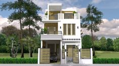 Three Story House Archives - House Plans S House Balcony Design, House With Balcony, Simple House Design, Bungalow House Design, Duplex House Plans, Bedroom House Plans, New House Plans, 30x40 House Plans, Three Story House