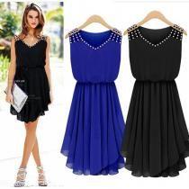Black Hot Fashion women Casual Elegant Noble Summer Girl Chiffon Sexy Dress