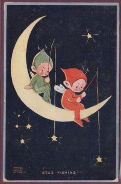 Mabel Lucie Attwell Star Fishing Fairies on The Moon 1923 Pub Valentine | eBay