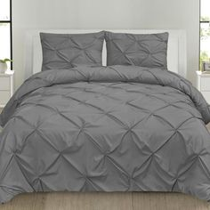 Luxury 3 Piece Pinch Pleat Pintuck Microfiber Duvet Cover and Pillow Sham Set, Queen Grey, Gray