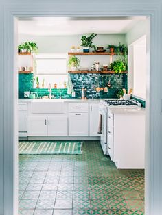 Justina Blakeney | Jungalow Kitchen  Colour grade of backsplash