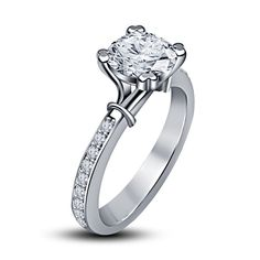 Platinum Plated Sterling Silver Solitaire W/ Accent Engagement Ring 5 6 7 8 9 10 #SolitairewithAccents