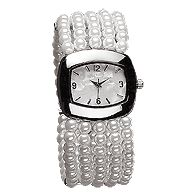 Pearlesque Stretch Watch - Faux-pearl stretch bracelet. Silvertone case with pearlized dial. One size fits most. Regularly $29.99, buy Avon jewelry online at http://eseagren.avonrepresentative.com/