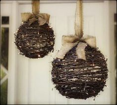 Natural branch spheres with lights; suspend with burlap or beautiful ribbon.