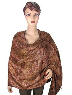 Pashmina Shawl, Stole Wrap, Paisley Jamawar Design Scarf Brown Gold Throw Mogul Interior. $23.99. Save 60% Off!