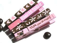 TEACHER CLOTHESPINS magnetic hand painted pink by SugarAndPaint, $12.00