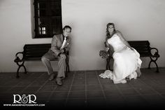 Black & White Wedding Photography | separate benches