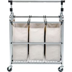 Seville Classics, Laundry Sorter with Hanging Bar, at The Home Depot - Mobile Hanging Bar, Hanging Racks, Hanging Storage, Laundry Cart, Laundry Hamper, Dorm Room Organization, Laundry Room Storage, Laundry Rooms, Impression 3d