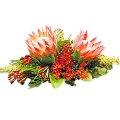 Australian flora centrepiece, however may be too small and low for the size of the table.