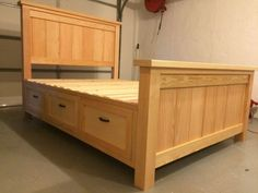 Look at the way he built the drawers. Ana White brag post 12/10/14. Farmhouse Storage Bed With Hidden Drawer | Do It Yourself Home Projects from Ana White: