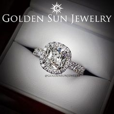 GOLDEN SUN JEWELRY: Cushion cut diamond in a two row cathedral setting with cushion cut shaped halo. #wedding #weddingring #engagement #engagementring #ring #diamond #diamonds #diamondjewelry #fancy #flawless #jewelry #luxury #bridal #bling #theknot