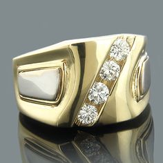 This one of a kind Luccello Brand 18K Gold Mens Designer Diamond Ring  showcases 4 dazzling round diamonds, each diagonally channel-set in a lustrous gold frame. Featuring a simple yet luxurious design and a highly polished 2-tone gold finish, this magnificent men's designer diamond ring makes a perfect 4-year anniversary present or a unique wedding ring, and is available in 18 Karat white, yellow and rose gold.