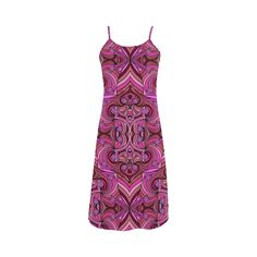 Pink Abstract Doodle Pattern by ArtformDesigns Slip Dress. A fun, vibrant abstract design with a doodle feel in shades of pink. With swirls, flowers and hearts.