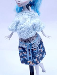 Blue knitted SWEATER and SKIRT SET for Monster by ZomiDollClothes