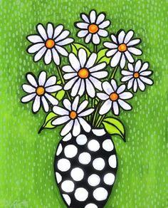Daisy Flowers On Canvas
